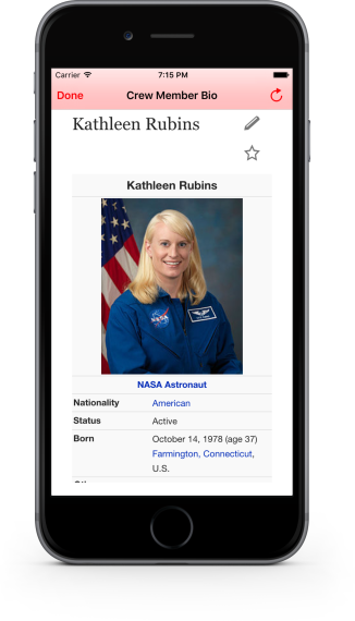 Crew member bio in ISS-Real-Time Tracker 3